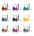forklift icon in black style isolated on white vector image vector image