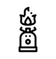 gaz cylinder with fire for cooking icon vector image vector image