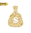 Gold glitter icon of money bag isolated on vector image vector image