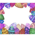 greeting card with colorfull doodle festive eggs vector image