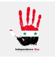 Handprint with the Flag of Syria in grunge style vector image vector image