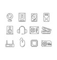hardware pc components symbols of computer items vector image vector image