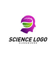 head people with leaf logo template brain vector image vector image