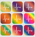 Heartbeat sign icon Nine buttons with bright vector image