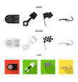 isolated object of car and rally logo collection vector image vector image