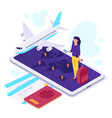 isometric airplane travel traveler suitcase vector image vector image