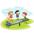 Kids playing seesaw in the park vector image vector image