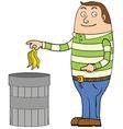 Man disposing of rubbish vector image vector image