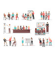 office team building concepts set vector image