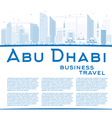 Outline Abu Dhabi City Skyline with Blue Buildings vector image vector image
