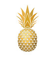 pineapple golden sign with hearts for t-shirt vector image vector image