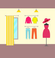 pleasant interior of clothing store color poster vector image