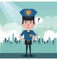 policeman at the city cartoon vector image vector image