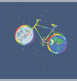 rainbow bike one wheel planet earth another wheel vector image