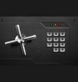 realistic safe lock metal element on brushed black vector image vector image