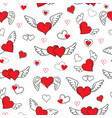 romantic hearts seamless pattern valentines day vector image vector image