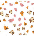 seamless pattern of cat dogs and pigs vector image
