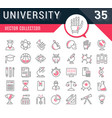 set flat line icons university vector image