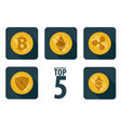 set of 5 basic cryptocurrency vector image vector image