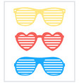 set shutter-shades sunglasses background vector image vector image
