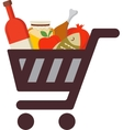 Shopping cart with rosh hashanah traditional food vector image