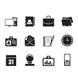 Silhouette Web Applications and Office icons vector image vector image