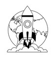 startup rocket with earth planet isolated icon vector image