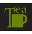 tea cup on green background vector image
