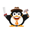 merry penguin in a hat with a hammer and a saw vector image