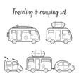 transport caravan isolated icon set vector image
