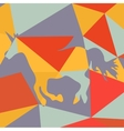 Beautiful running unicorn horse silhouette on a vector image