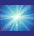 abstract light rays and dust blue background vector image vector image