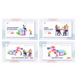 amusement spare time landing page template set vector image vector image