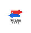 Arrows logo translation agency mockup design vector image