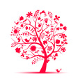 art floral tree pink for your design vector image vector image