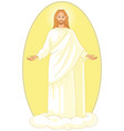 ascension jesus christ on cloud with arms open vector image
