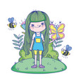 Beautiful girl with bees in field characters