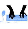 black silhouette female hands with a blue vector image