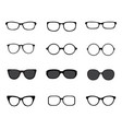 black silhouettes different eyeglasses vector image vector image