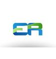 blue green er e r alphabet letter logo vector image vector image