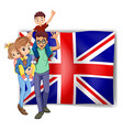 British family and flag in background vector image vector image