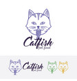 cat food logo design vector image vector image