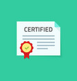 certificate icon flat paper vector image
