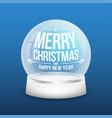 christmas glass snow ball isolated on blue vector image vector image