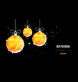 christmas polygonal golden balls background vector image