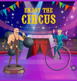 circus poster strongman and vintage bicycle rider vector image vector image