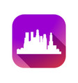 city flat icon with long shadow on gradient vector image vector image