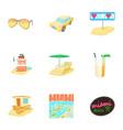 city miami icons set cartoon style vector image vector image
