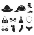 clothes and accessories black icons in set vector image