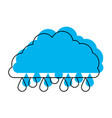 cloud with raindrops in blue watercolor silhouette vector image vector image